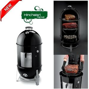 weber grill cooker 18 charcoal smoker vents thermometer meat fish turkey grills ebay. Black Bedroom Furniture Sets. Home Design Ideas
