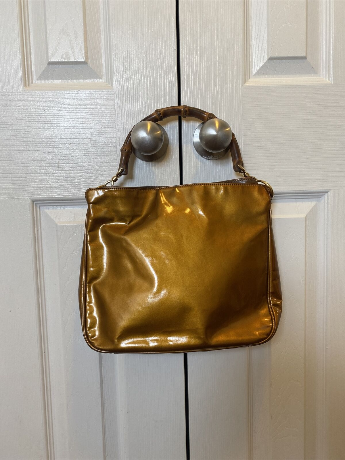 GUCCI COPPER BAMBOO HANDLE BAG VINTAGE DIANA LEAT… - image 2