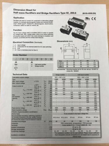 Rectifier Roba switch Type 1//025.000.6 mayr Brake Motor Bridge Full wave