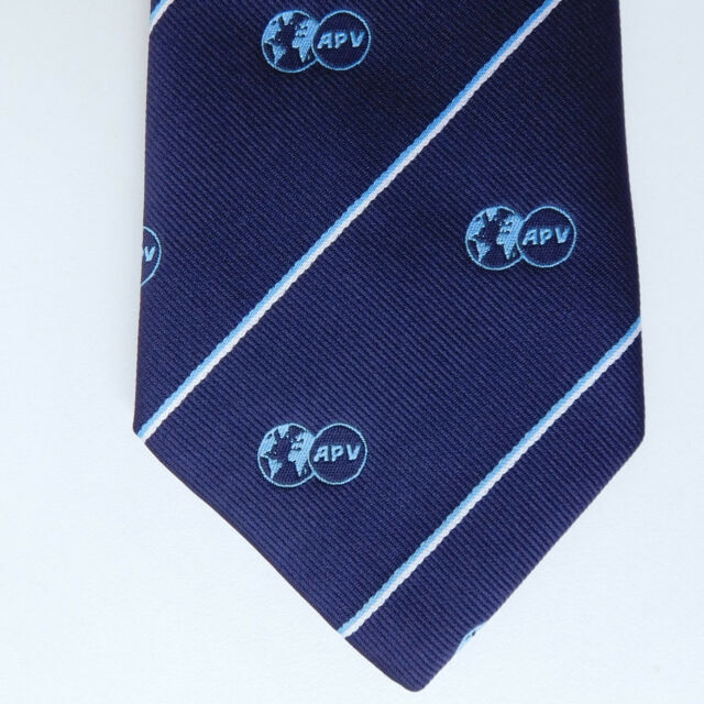 APV tie Logo and world map emblem Corporate company tie Navy blue Neatwear