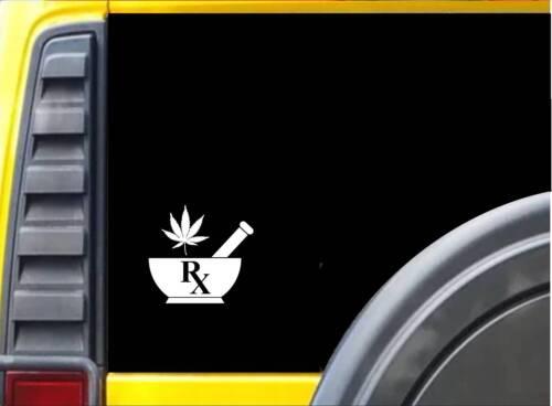 Mortar and Pestle Marijuana K736 6 inch sticker medical decal