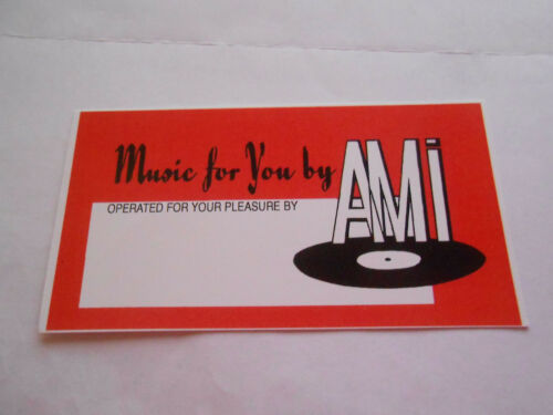 "AMI CONTINENTAL JUKEBOX /& OTHER AMI MODELS /""OPERATOR CARD/"" RED"