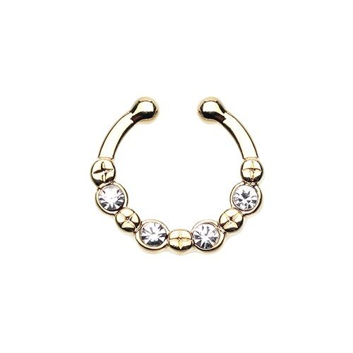 Fake Septum Ring Gold Silver Opal Colorline Gem Clear AB Pink CZ Body Jewelry