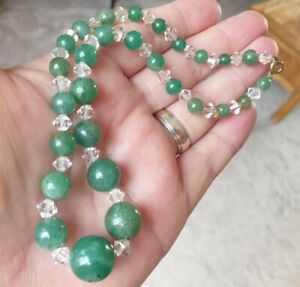 OLD VINTAGE ART DECO JEWELLERY GRADUATED JADE & CRYSTAL ROLLED GOLD NECKLACE