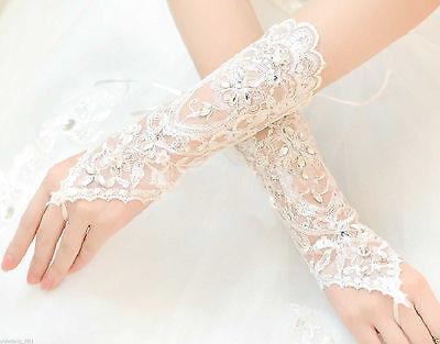 VINTAGE STYLE IVORY LACE WEDDING BRIDES RHINESTONE SATIN FINGERLESS GLOVES