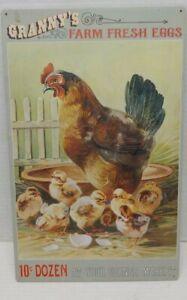 Granny-039-s-Farm-Fresh-Eggs-Corner-Market-Advertisement-Reproduction-Metal-Sign
