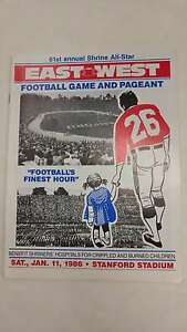 East vs West Shrine All Star Stanford Stadium Football 1986 Program J42559