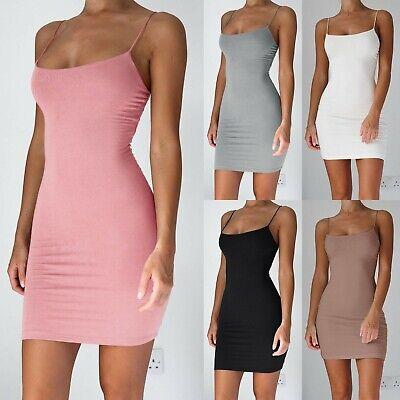Damen Sexy Bodycon Kurz Eng Spaghettitrager Rutscht Massiv Muster Kleid Sommer Ebay
