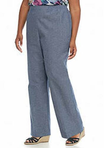 ALFRED DUNNER PLUS SIZE SAUSALITO BLUE WHITE PINESTRIPE PANTS WOMENS 24W SHORT