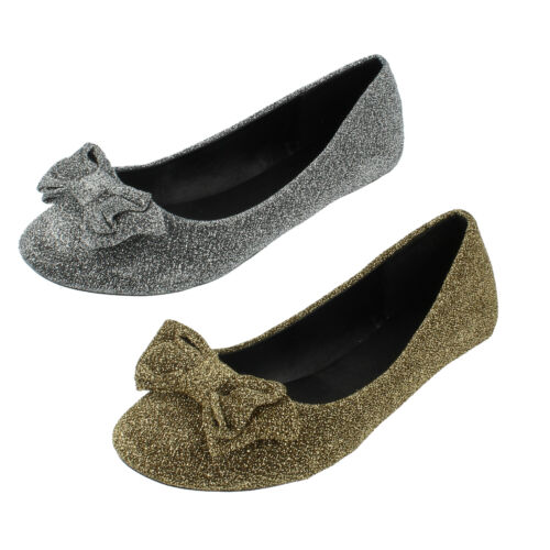 Silver or Gold by Spot On £5.99 Ladies F8858  in Glitter Flats in Red