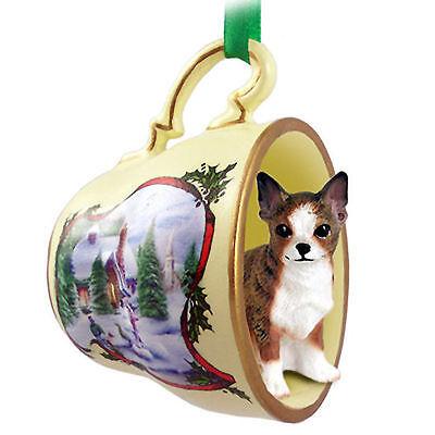 Chihuahua Christmas Teacup Ornament Brindle
