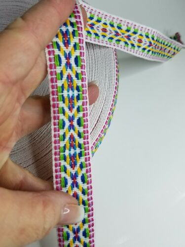 Southwest Native pink /& blue 1 inch wide woven trim