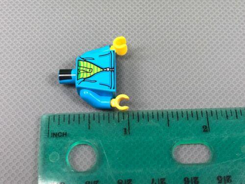 LEGO Minifigure Torso Dark Azure Hoodie Zipper Lime /& Green Striped Shirt x1