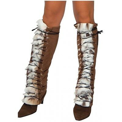 Suede Leg Warmers Adult Barbarian Viking Eskimo Cave Girl Indian Costume Acsry