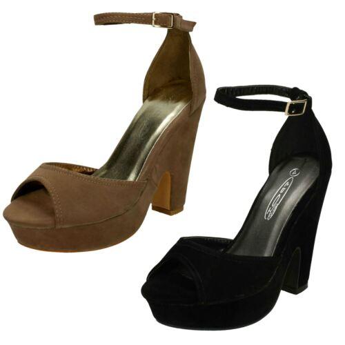 Ladies Spot On Platform Heeled Peep Toe /'Sandals/'
