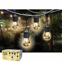 24 Socket Outdoor String Light Set 36 Bulbs 48ft Hanging Weatherproof Lighting