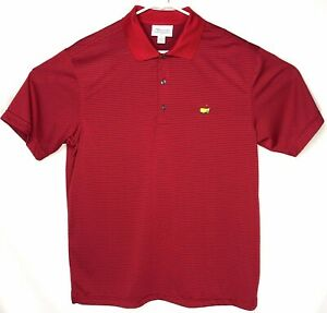 Masters-Tech-Mens-Performance-Golf-Polo-Shirt-Augusta-Red-Striped-Size-Large