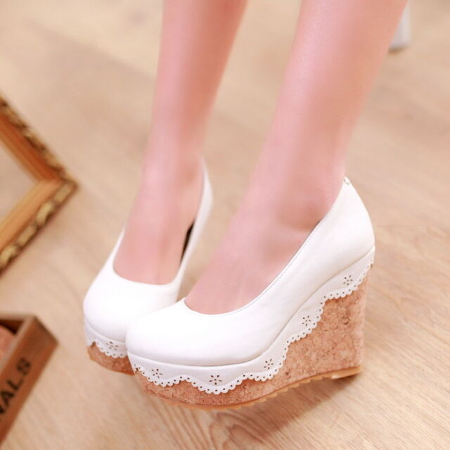 Womens High Wedge Heel Platform Slip on Boot Pump Court Candy Faux Leather Shoes