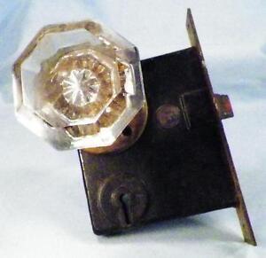 Antique-Crystal-Door-Knob-Set-amp-Matchbox-Lock-Victorian-Architectural-Salvage-3