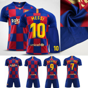 san francisco ac3c1 b0ead Details about 2019/20 Messi Football Soccer Short Sleeve Kit Jersey Strips  3-14Y Kid Boys Suit