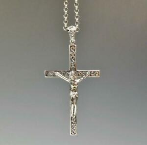 c0a964dc6f499 Details about Solid 925 Sterling Silver Jesus Scroll Ornate Cross Pendant  Beautiful Details