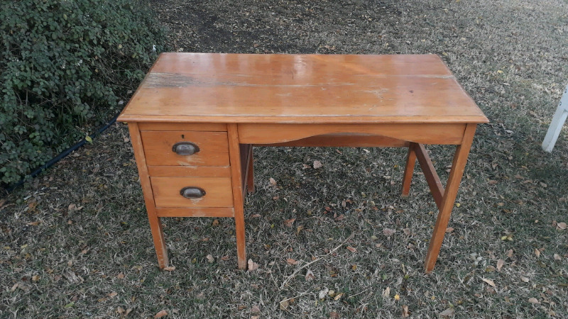 Antique Yellow Wood Desk