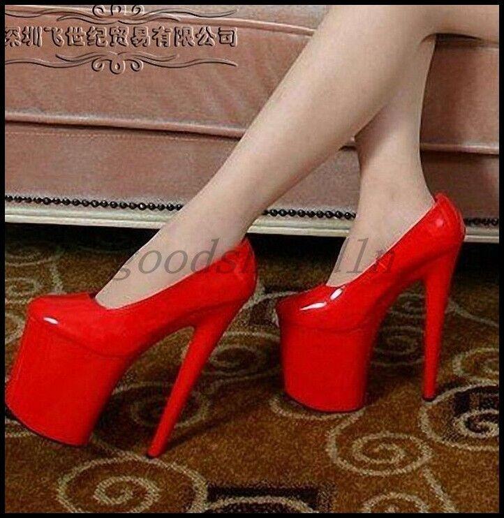 Plus SZ Donna Patent Pelle Platform Pumps 20CM High Heels Bridal Sexy Shoes