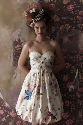 BHLDN Anthropologie Ivory Silk Butterfly Twirled Sweetheart Dress NWOT Sz 0 $240