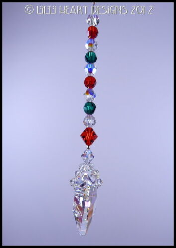 Swarovsk AURORA 27mm Christmas Colors WILD HEART SUN CATCHER Lilli Heart Designs
