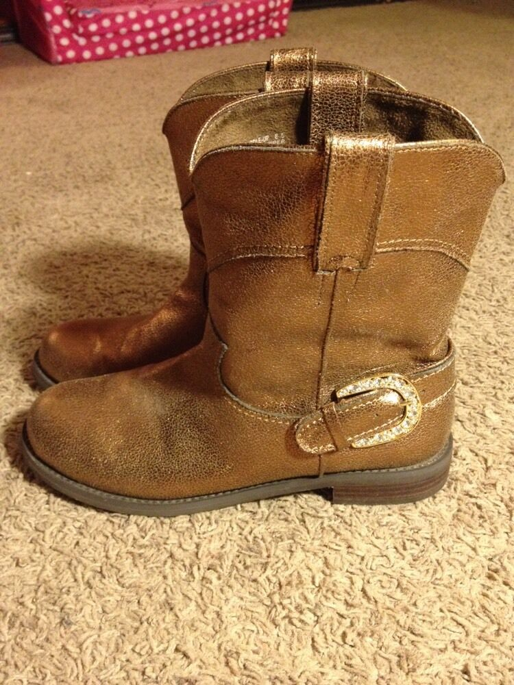 Womens 8.5 8 1 2 Bronze Boots Rhinestone Cowboy Cowgirl Western Pageant Casual