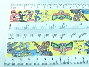 2 VINTAGE Mighty Morphin Power Rangers 6 inch Rulers 15CM dated 1993 Red Blue