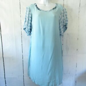 New-Umgee-Mini-Dress-L-Large-Blue-Tie-Dye-Puff-Sleeve-Boho-Peasant