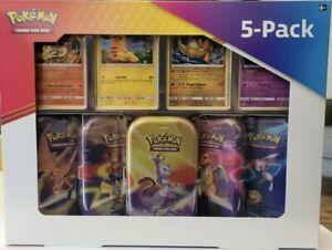 Pokemon Kanto Power Mini Tin 5 Pack 4 Promo Charizard Pikachu Mewtwo Dragonite
