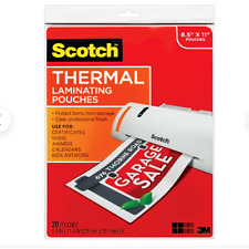 Scotch Thermal Laminating Pouches 89 X 114 Inches 3 Mil Thick 20 Pack