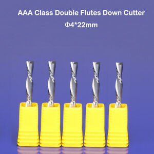 5pcs 5*22mm left hand down double flute cnc router bits milling cutter wood Mill