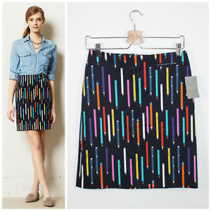 Anthropologie-New-NWT-RARE-Elevenses-Archival-Cotton-No-2-Pencil-Print-Skirt-4
