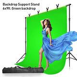 Pantalla fotográfica de 6 x 9 pies Telón de fondo de muselina verde Chromakey, con kit de soporte