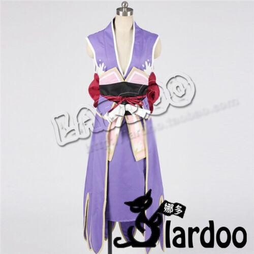 FAIRY TAIL Erza Scarlet Cosplay Costume Purple Kimono Dress Full Set