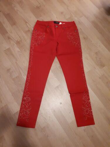 Größe 42 wunderschöne Damenhose rot mit Glitzer