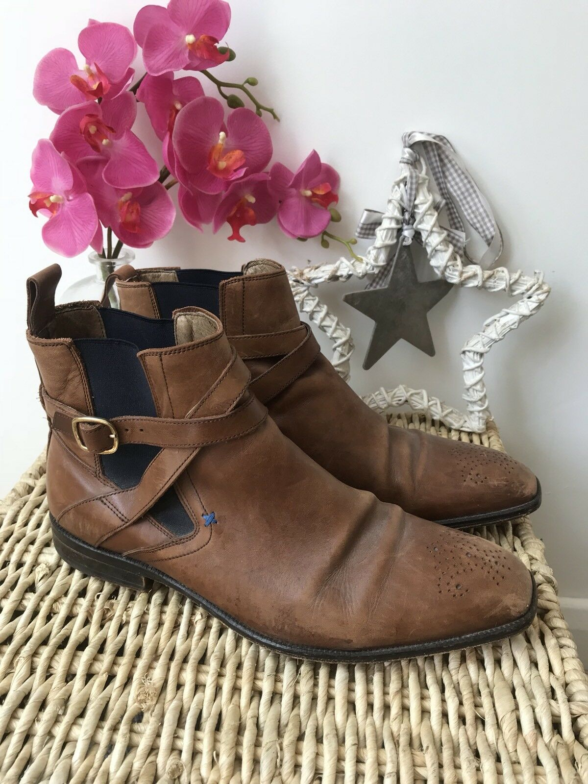 Reiss Size 8 Tan Leather Brown Boots Casual Daytime Smart Pull On Chelsea Boots