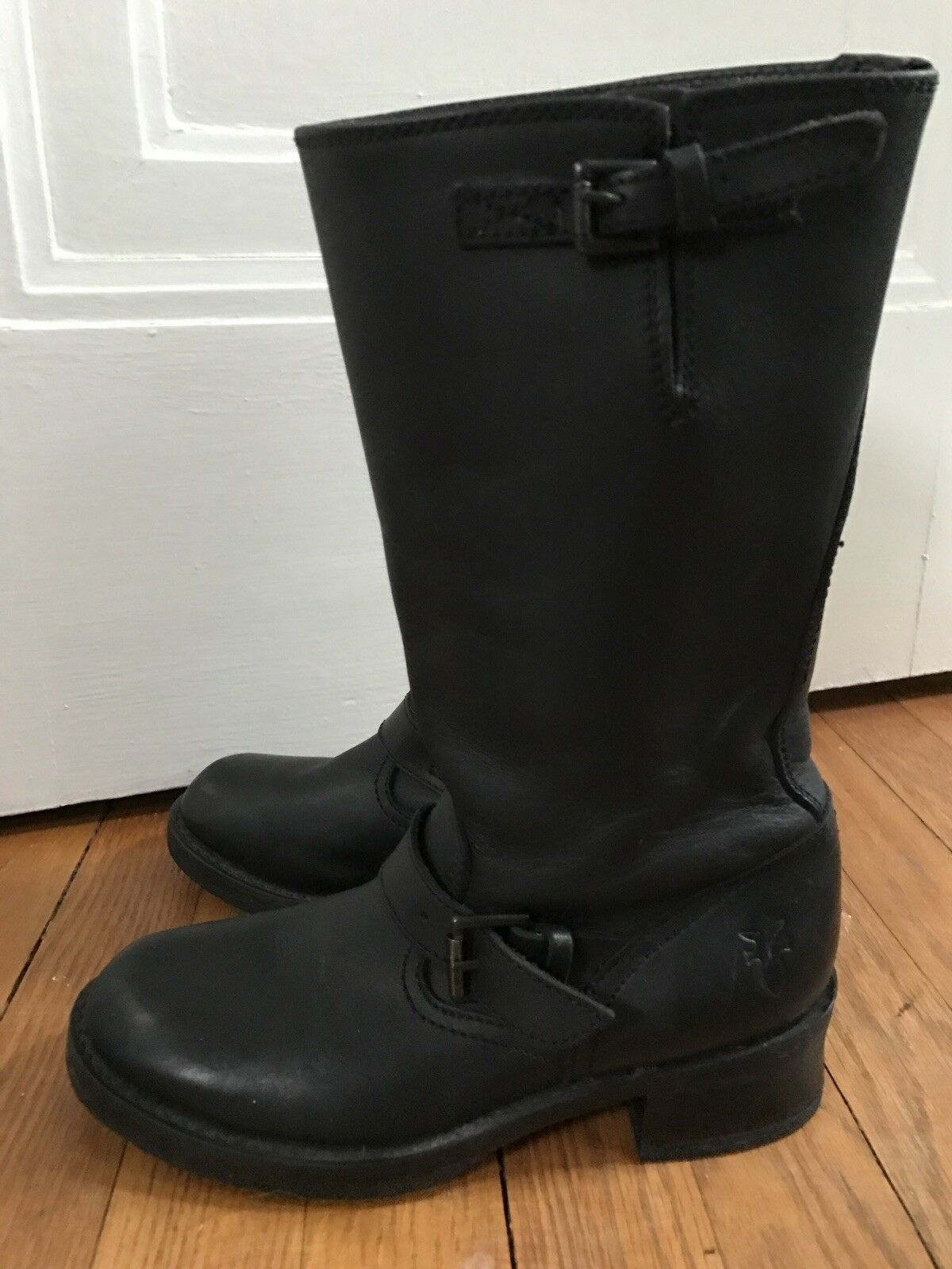 Frye 77515 Black Black Black Leather Engineer Moto Harness Boots EUC 731289