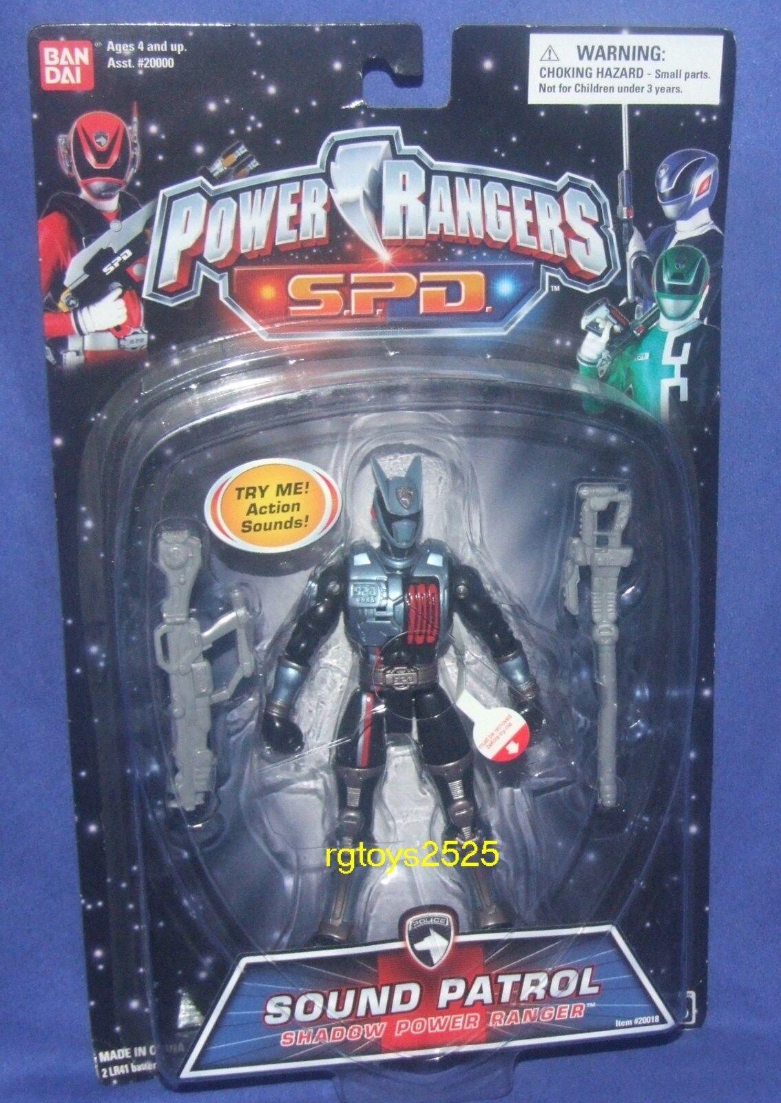 Power Rangers Rangers Rangers SPD 5  Sound Patrol Shadow Ranger New Factory Sealed 2004 18c65b