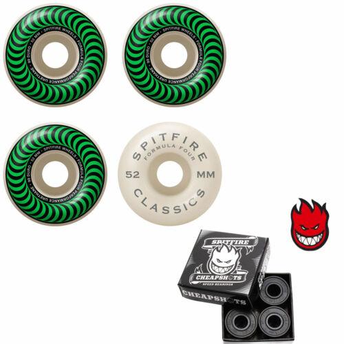 Spitfire Skateboard Wheels F4 Classics 99A Green 52mm With Spitfire Bearings