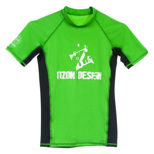 Adult Rashie Surf Swim Rash Vest Green & Black Size Small