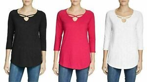 NEW-Eddie-Bauer-Ladies-3-4-Sleeve-Cross-Front-Tunic-Shirt