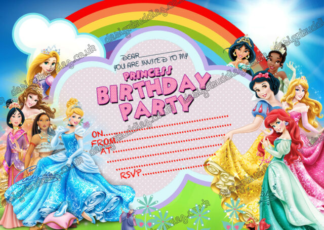 Disney Princess Birthday Party Invitations For Girlsprincess X 8 CARDS