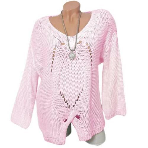 Damen V-Ausschnitt Pullover Langarm Sweater Ausgehöhlt Sweatshirt Jumper Tops 40