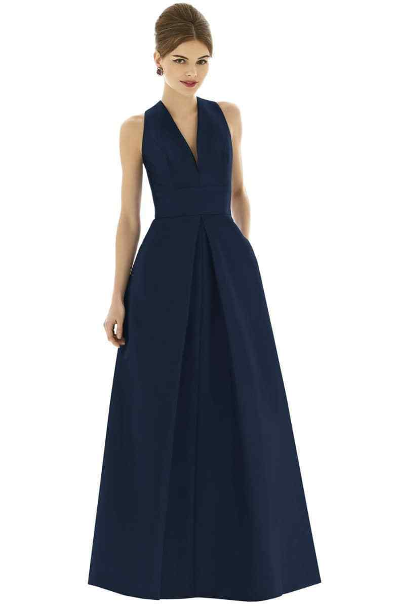 ALFRED SUNG DUPIONI A-LINE FULL LENGTH MIDNIGHT NAVY DRESS GOWN sz 6