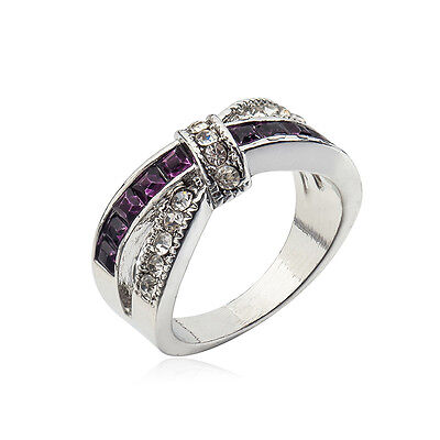Purple Amethyst & CZ Criss Cross Ring Band Black Gold Filled Jewelry Size 6-10