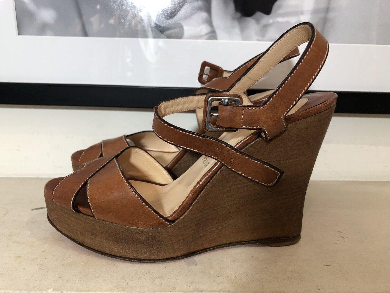 Louboutin braun Leather Wedge Sandals UK6